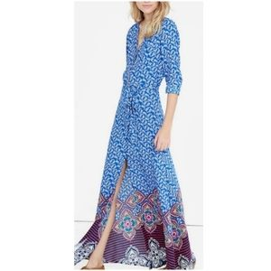 Express Blue Paisley Maxi Shirt Dress Boho S